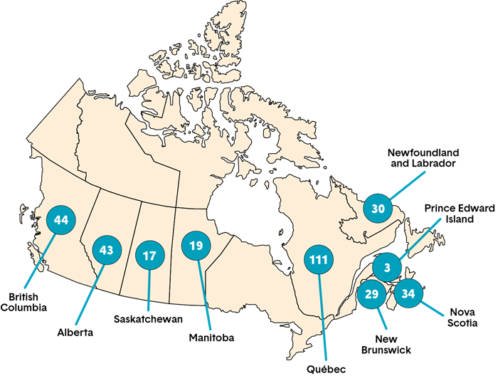 A map showing the total number of new members by province of initial certification annually. Long description follows.